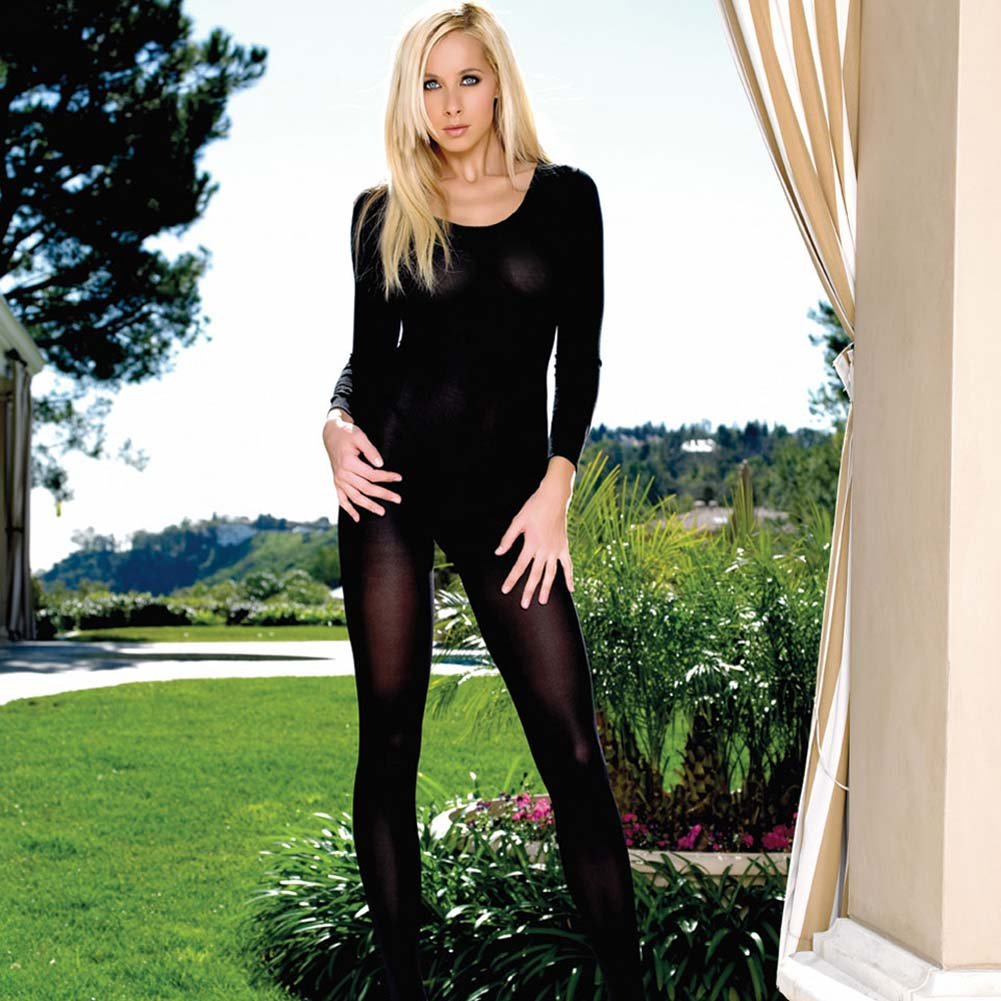 Long Sleeved Crotchless Bodystocking Black Plus Size - View #2