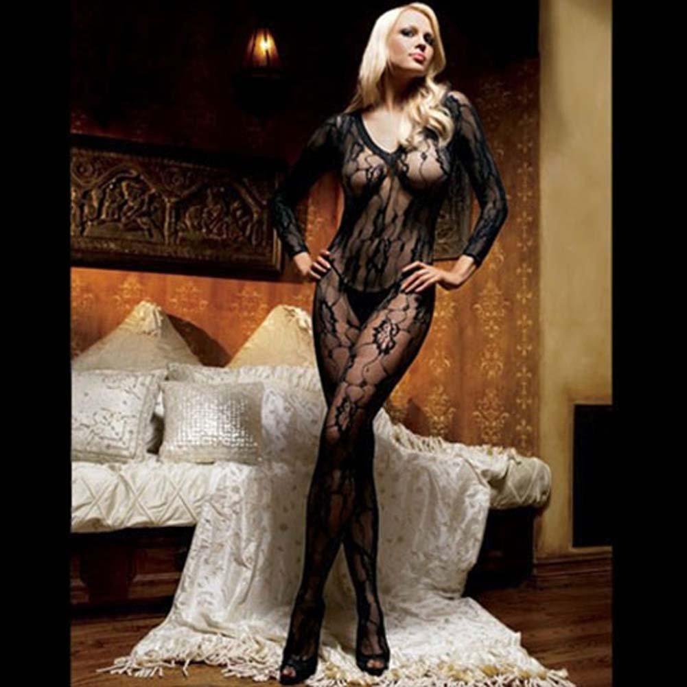 Romantic Rose Lace Long Sleeve Bodystocking White - View #2