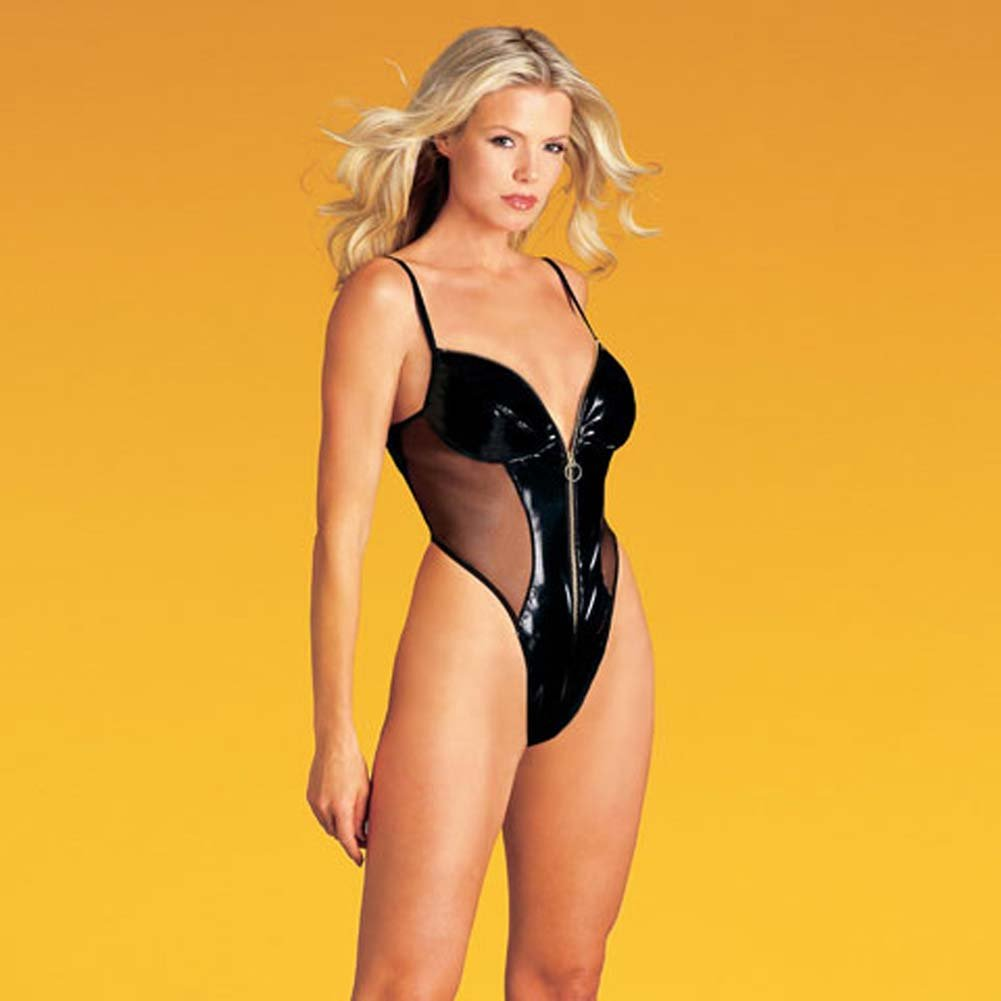 Vinyl Zip Front Teddy - View #2