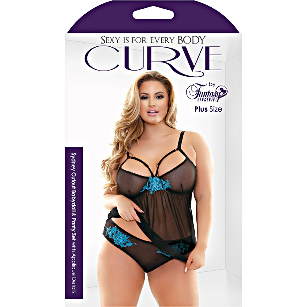 Sydney Cutout Babydoll and Panty Set with Applique Details 3X/4X Black - View #3