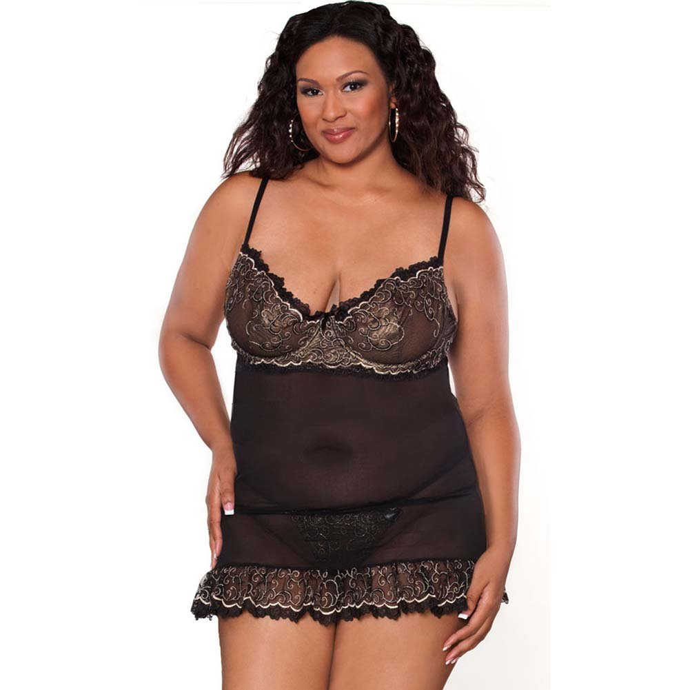 Absolute Treasure Demi Babydoll and Panty 2X Black/Gold - View #1
