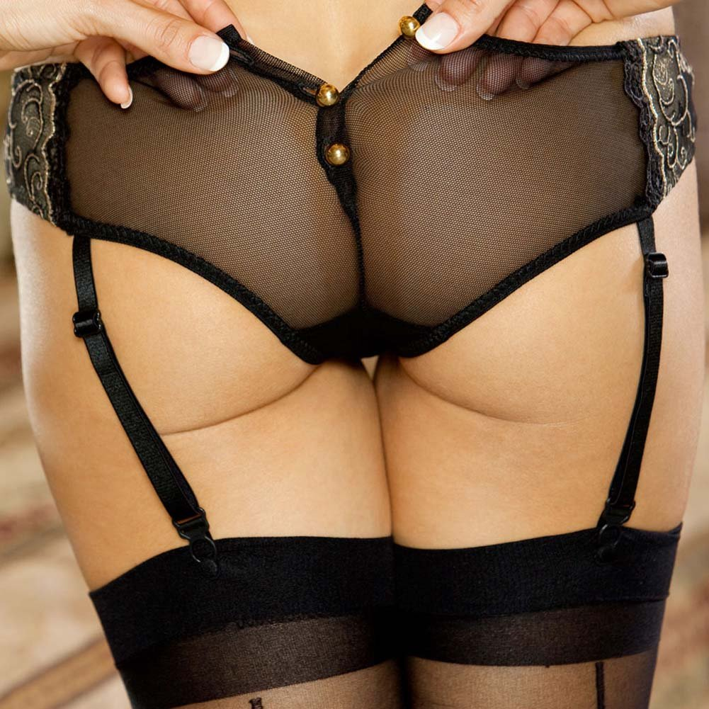 Absolute Treasure Button Back Garter Panty 2X Black/Gold - View #4