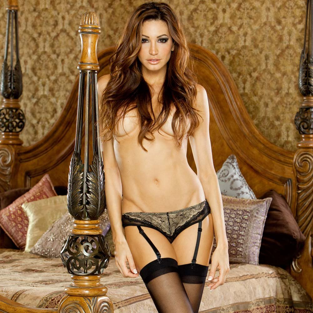 Absolute Treasure Button Back Garter Panty 3X Black/Gold - View #1
