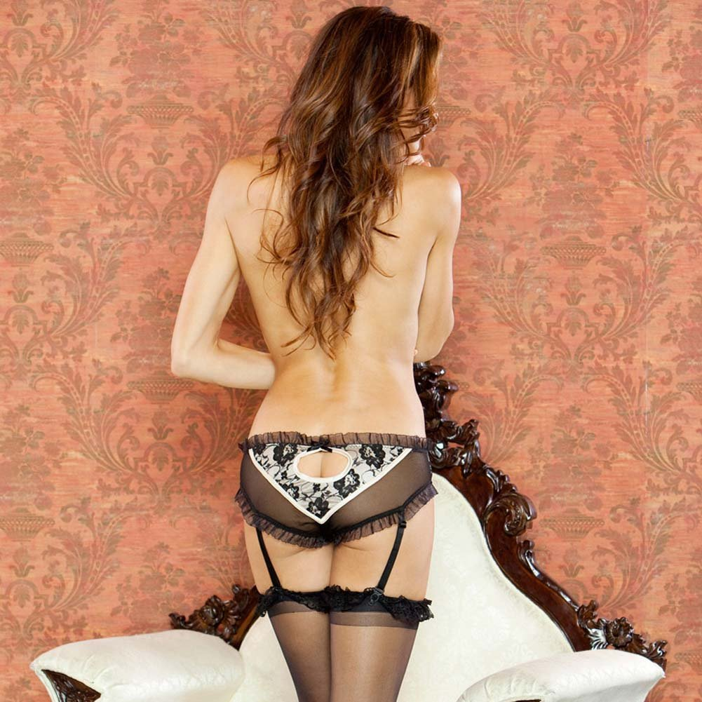 Nude Affair Lacey Peek A Boo Garter Panty Medium Nude/Black - View #2