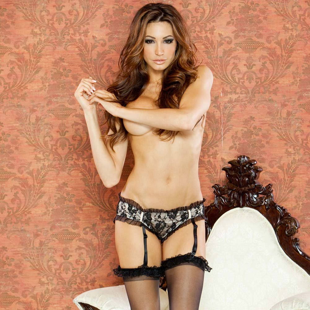 Nude Affair Lacey Peek A Boo Garter Panty Large Nude/Black - View #1