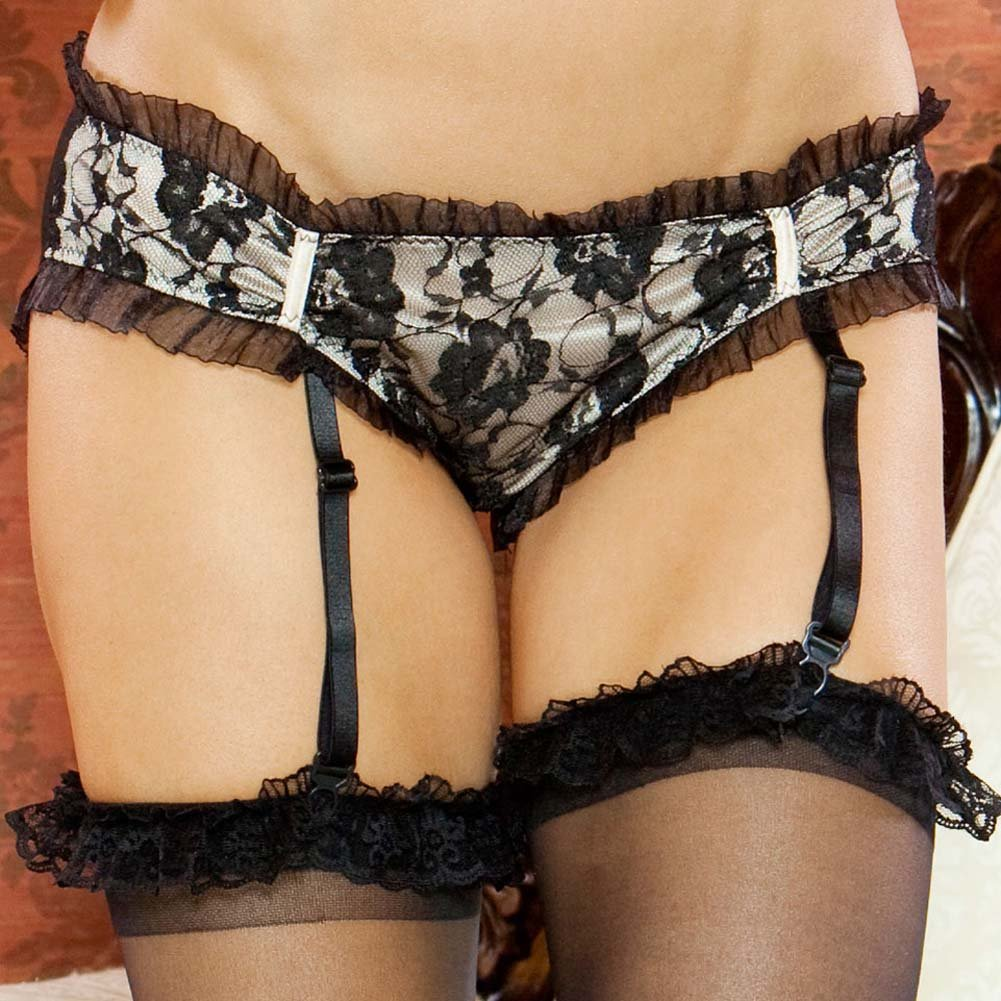 Nude Affair Lacey Peek A Boo Garter Panty Large Nude/Black - View #3