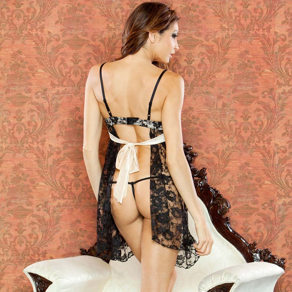 Nude Affair Tieback Lacey Babydoll and Panty Medium Black - View #2