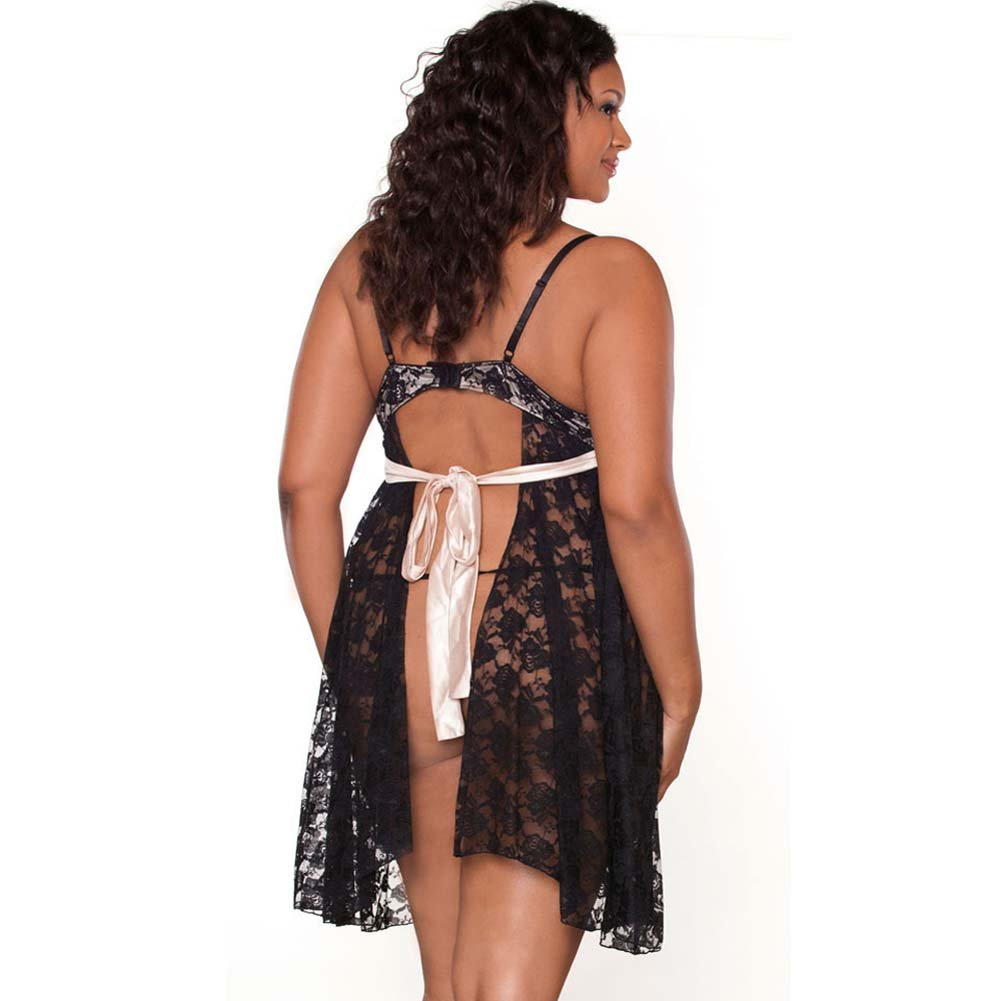 Nude Affair Tieback Lacey Babydoll and Panty 1X Black - View #2