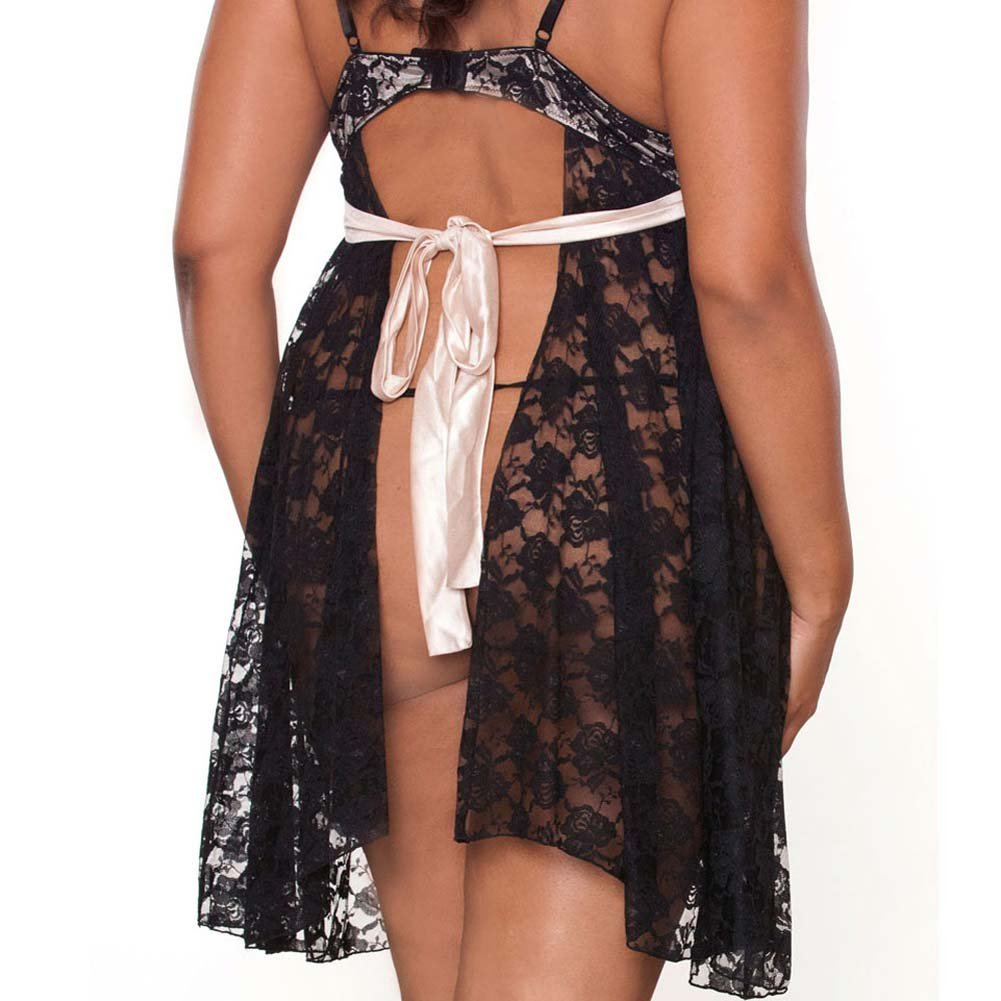 Nude Affair Tieback Lacey Babydoll and Panty 1X Black - View #4