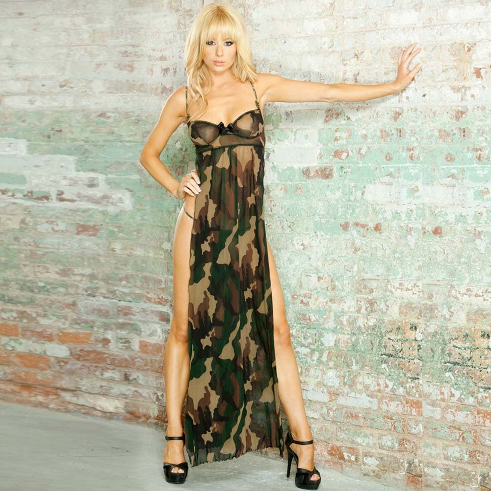 Bullet Proof Split Side Long Gown and G-String Set Small Camo - View #1
