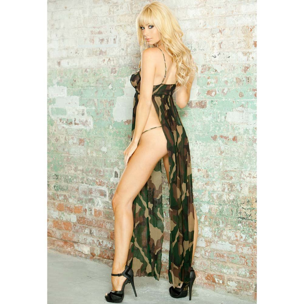 Bullet Proof Split Side Long Gown and G-String Large Camo - View #2