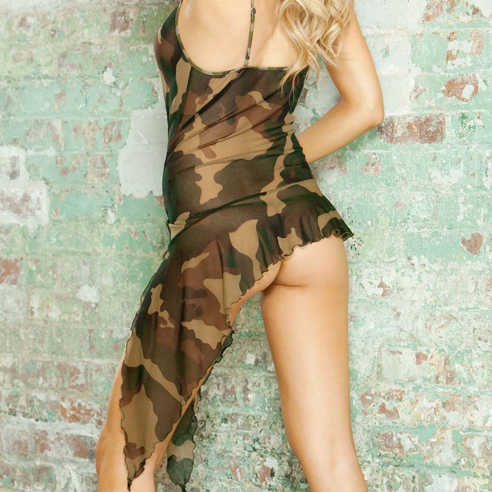 Bullet Proof Asymmetrical Babydoll with Panty Medium Camo - View #4