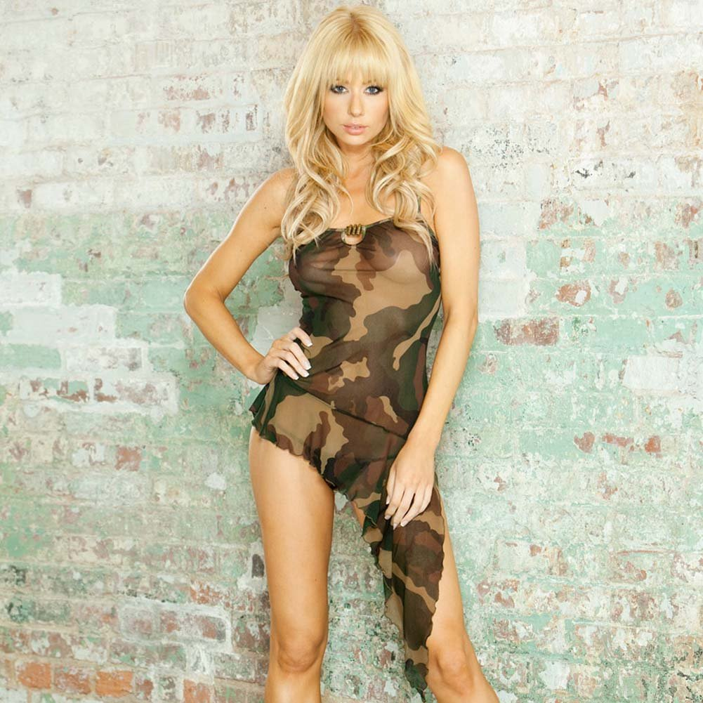 Bullet Proof Asymmetrical Babydoll with Panty Large Camo - View #1