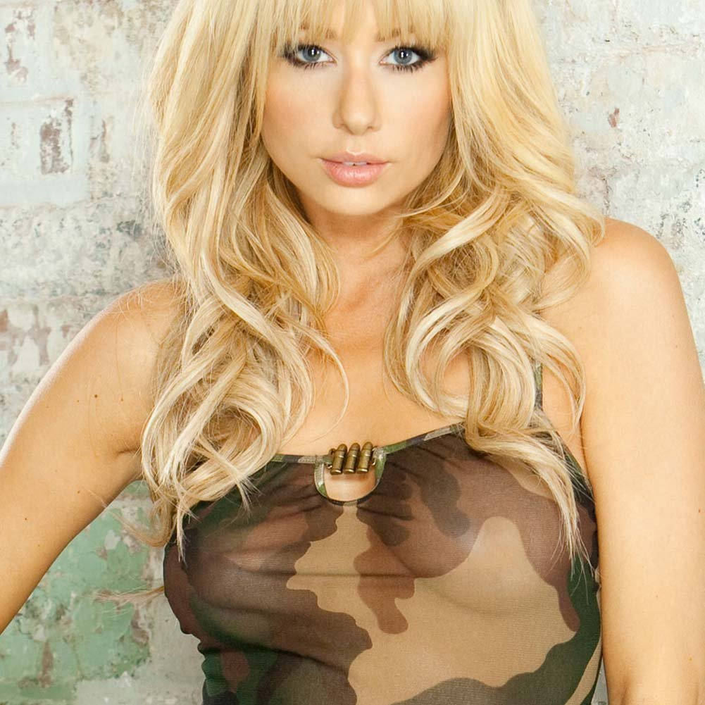 Bullet Proof Asymmetrical Babydoll with Panty Large Camo - View #3