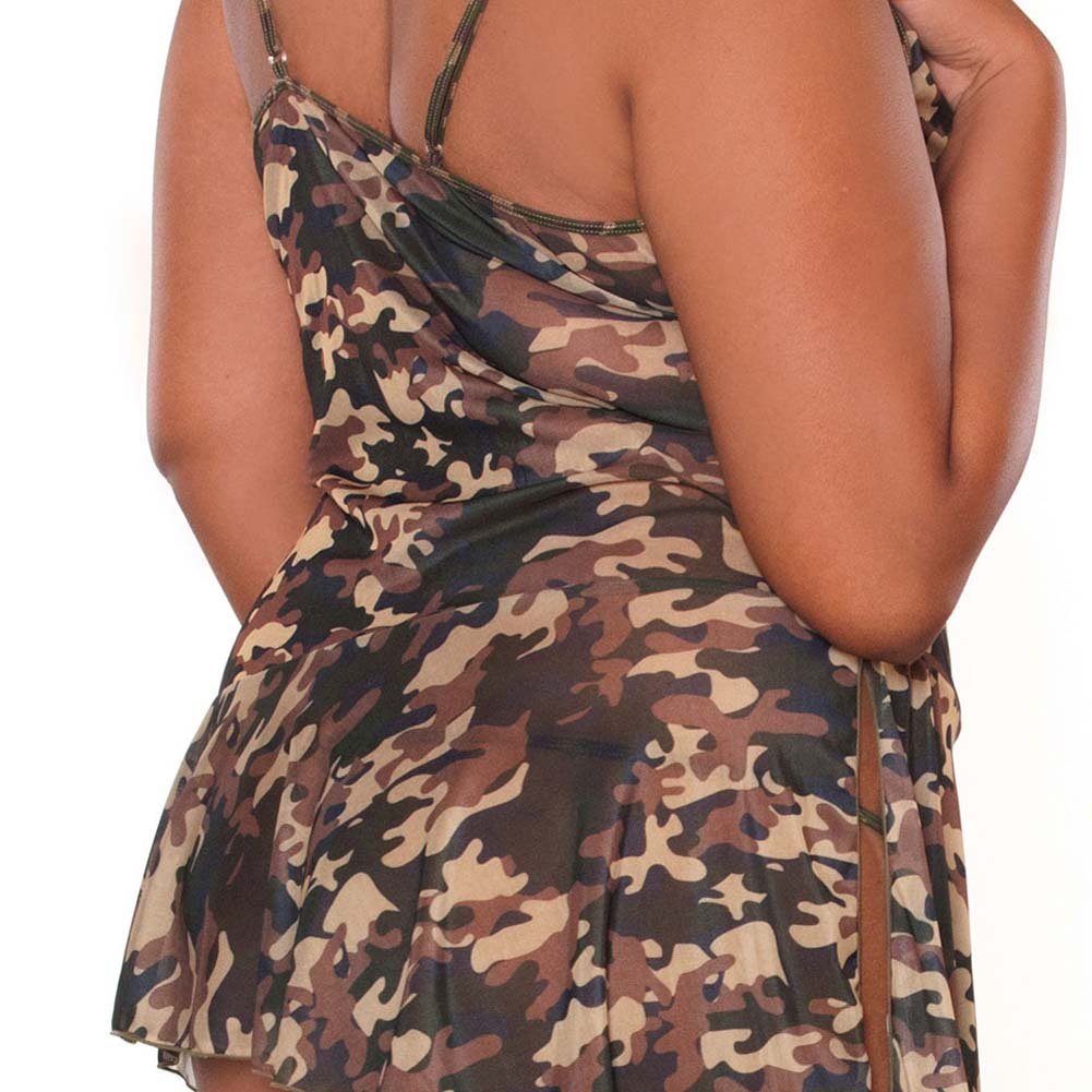 Bullet Proof Asymmetrical Babydoll with Panty 1X Camo - View #4