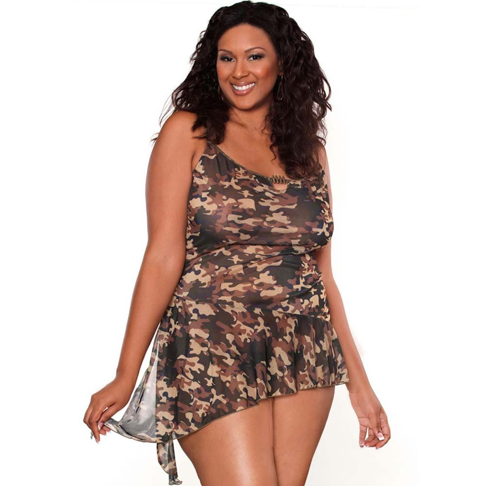 Bullet Proof Asymmetrical Babydoll with Panty 3X Camo - View #1