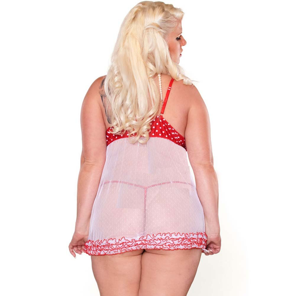 Perfect Pin Up Ruffled Babydoll and G-String Plus Size 1X - View #2