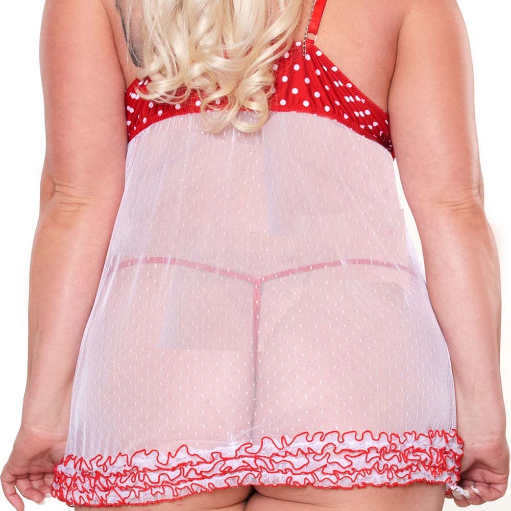 Perfect Pin Up Ruffled Babydoll and G-String Plus Size 1X - View #4