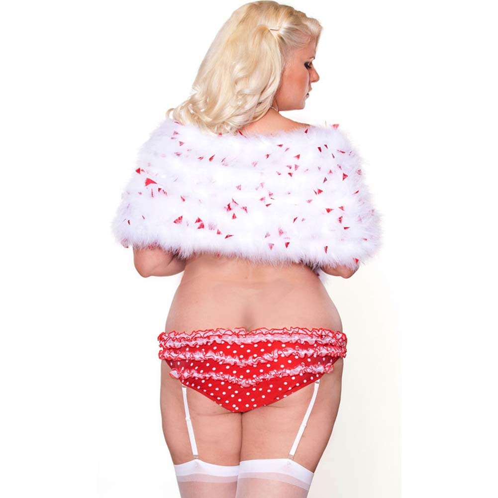 Perfect Pin Up Marabou Shrug and Gartered Panty Plus Size 2X White/Red - View #2