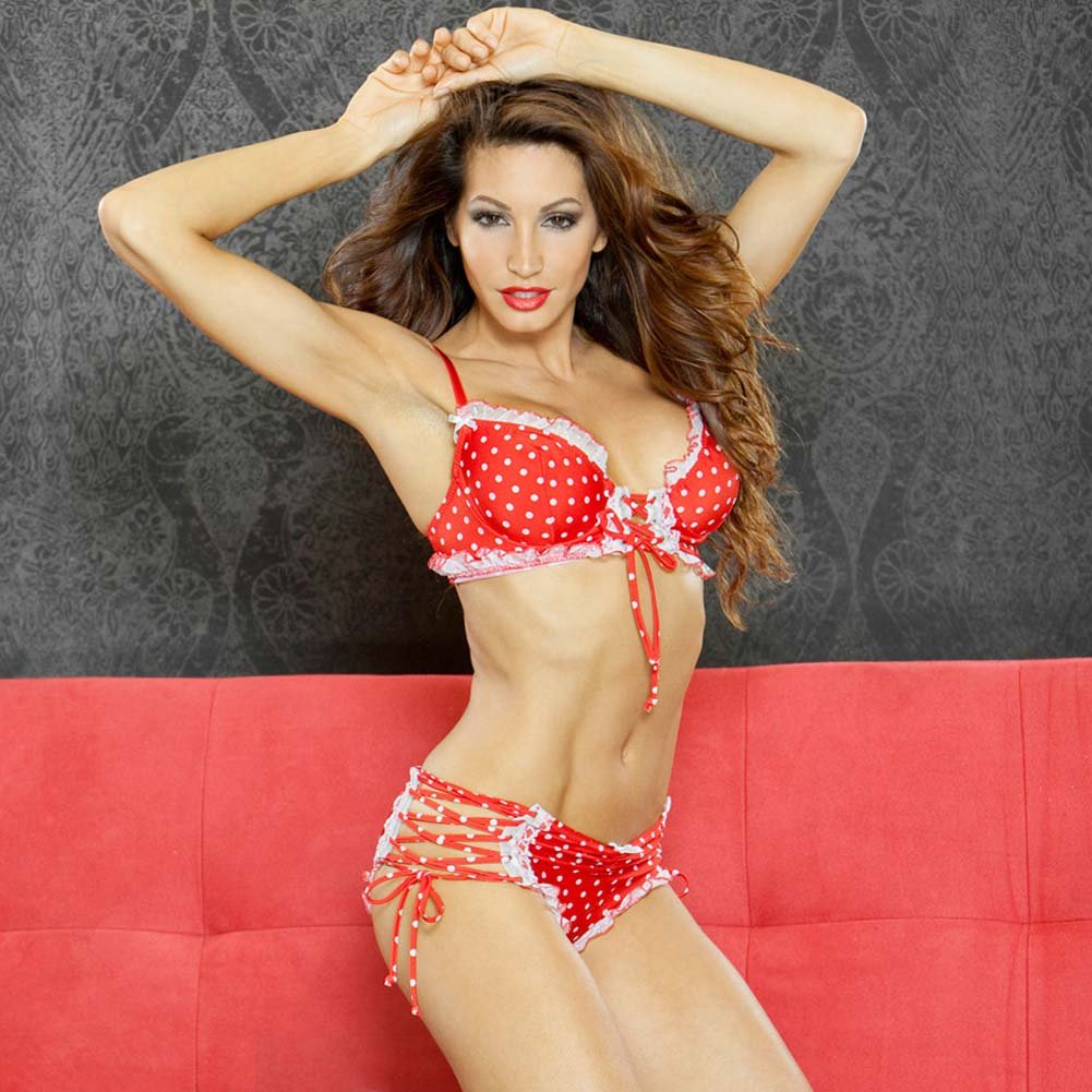 Perfect Pin Up Tie Side Panty and Front Tie Bra Small - View #1