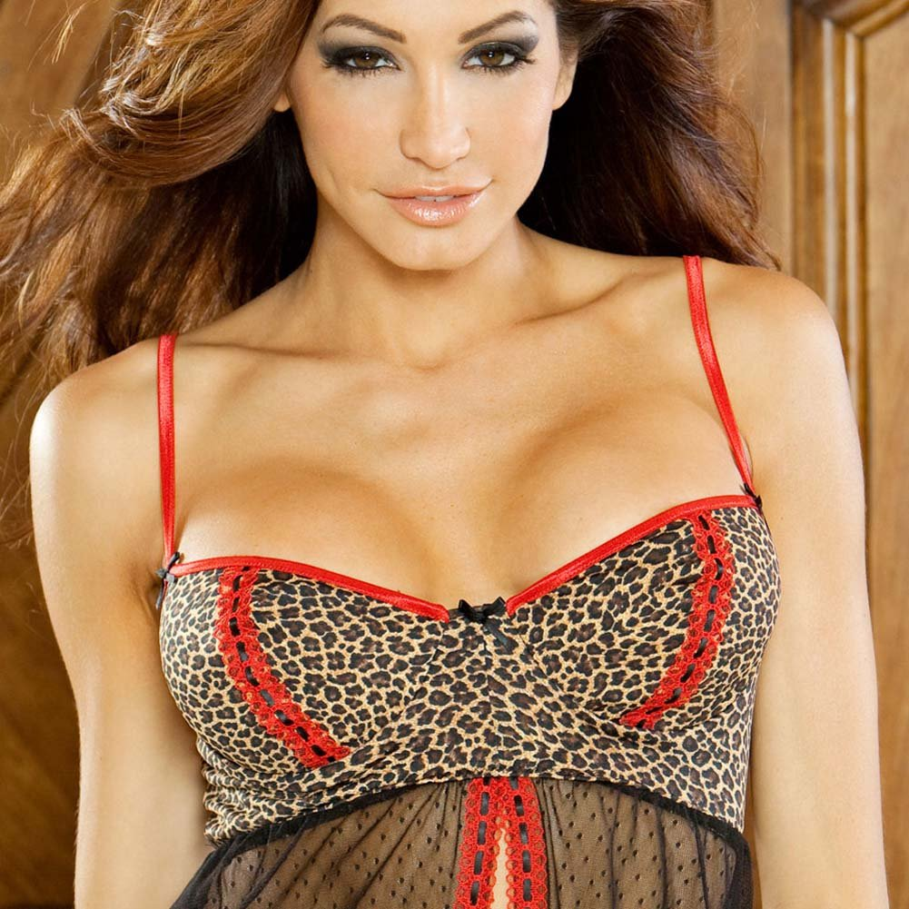 Purr Fect Babydoll and G-String Medium Red/Black - View #3