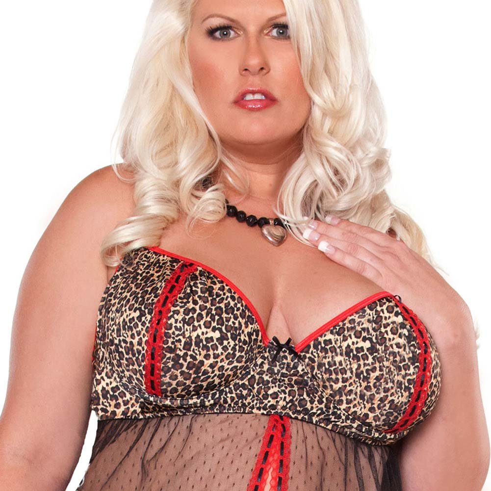 Purr Fect Babydoll and G-String Plus Size 1X Red/Black - View #3