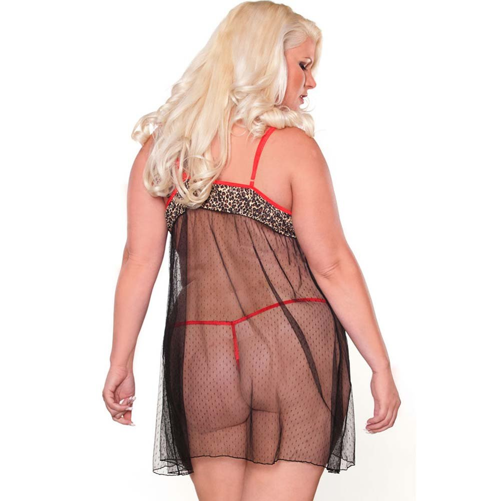 Purr Fect Babydoll and G-String Plus Size 2X Red/Black - View #2