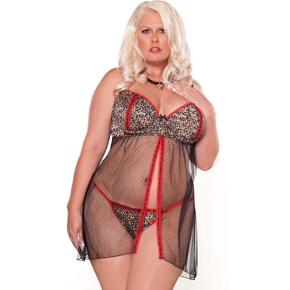 Purr Fect Babydoll and G-String Plus Size 3X Red/Black - View #1