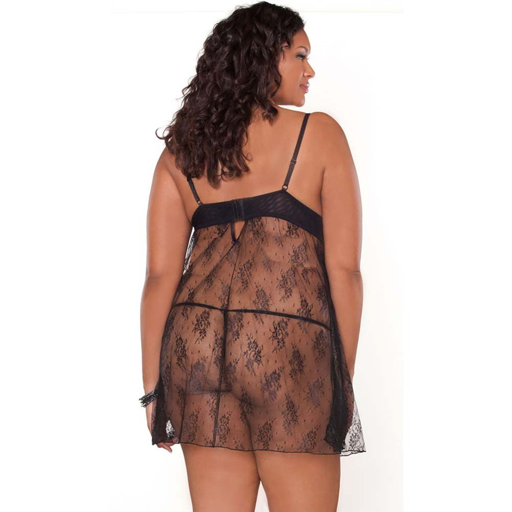 Temptress Lace Demi Cup Babydoll and G-String Plus Size 1X Black - View #2