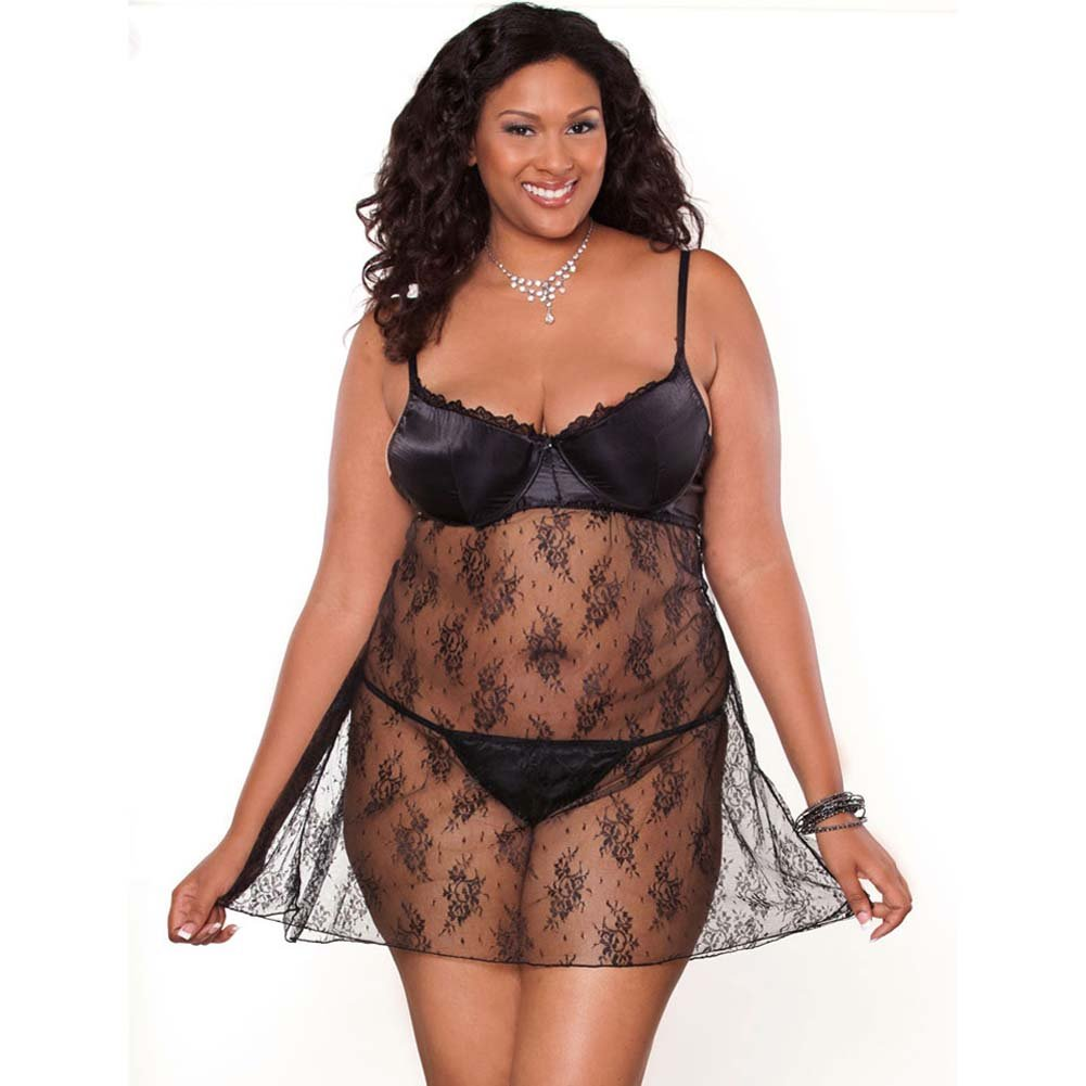 Temptress Lace Demi Cup Babydoll and G-String Plus Size 2X - View #1