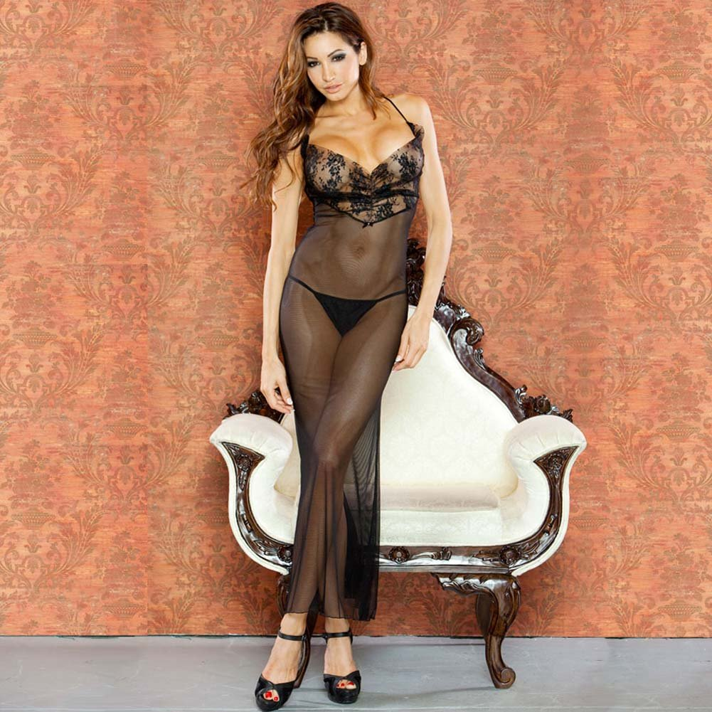 Temptress Sheer Gown with Lace Front and Tie Up Back Medium Black - View #1