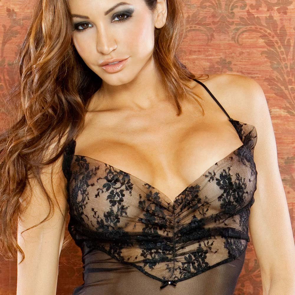 Temptress Sheer Gown with Lace Front and Tie Up Back Medium Black - View #3