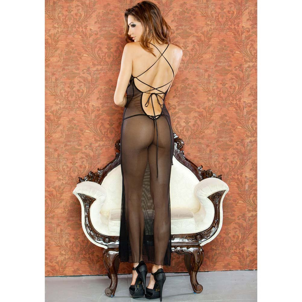 Temptress Sheer Gown with Lace Front and Tie Up Back Large Black - View #2