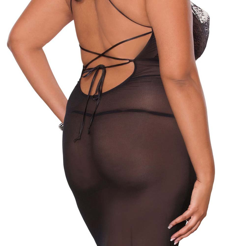 Temptress Sheer Gown with Lace Front and Tie Up Back Plus 2X Black - View #4