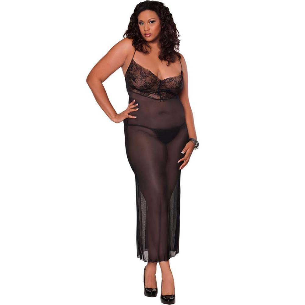 Temptress Sheer Gown with Lace Front and Tie Up Back Plus 3X - View #1