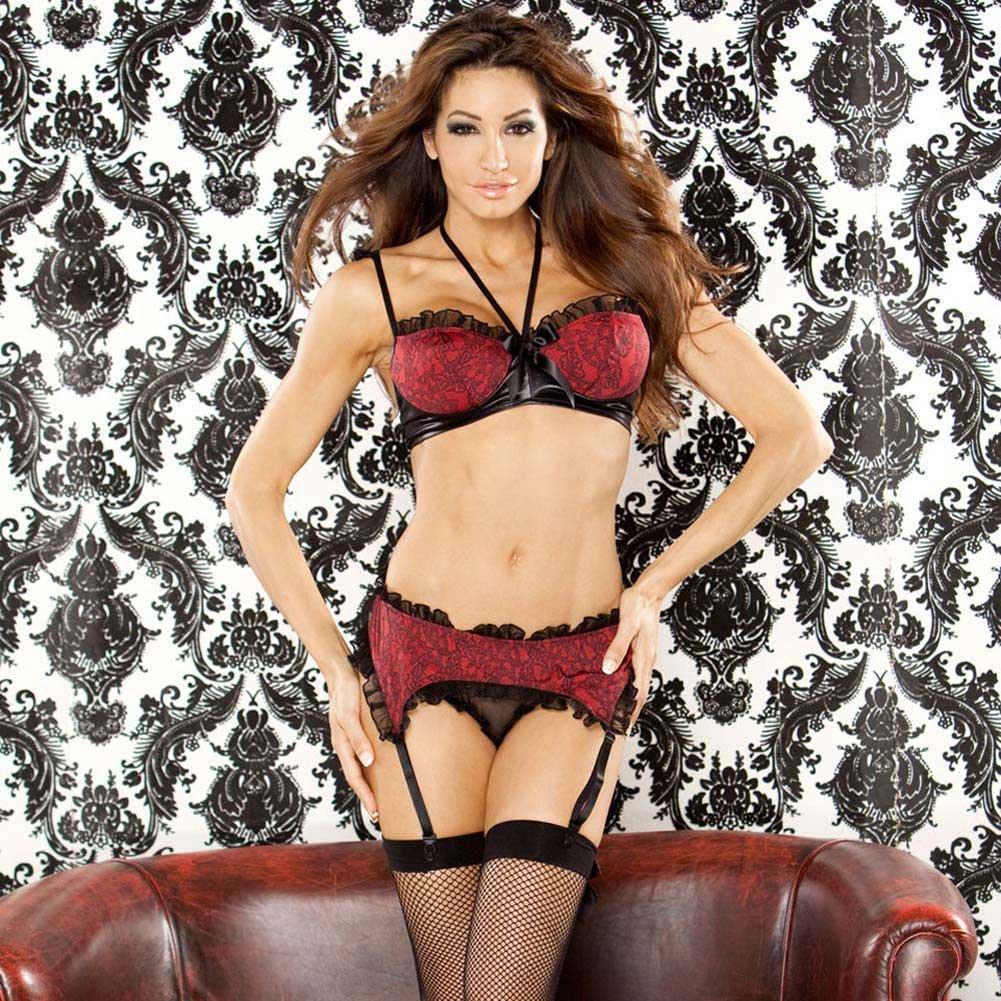 Bedroom Bordello Garter Belt and Halter Bra with Panty 1X - View #1