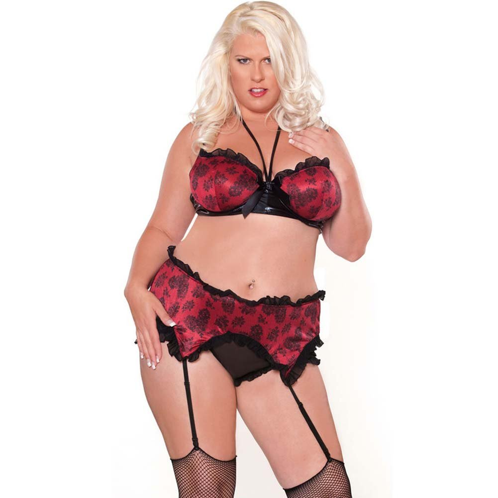Bedroom Bordello Garter Belt and Halter Bra with Panty 2X - View #1