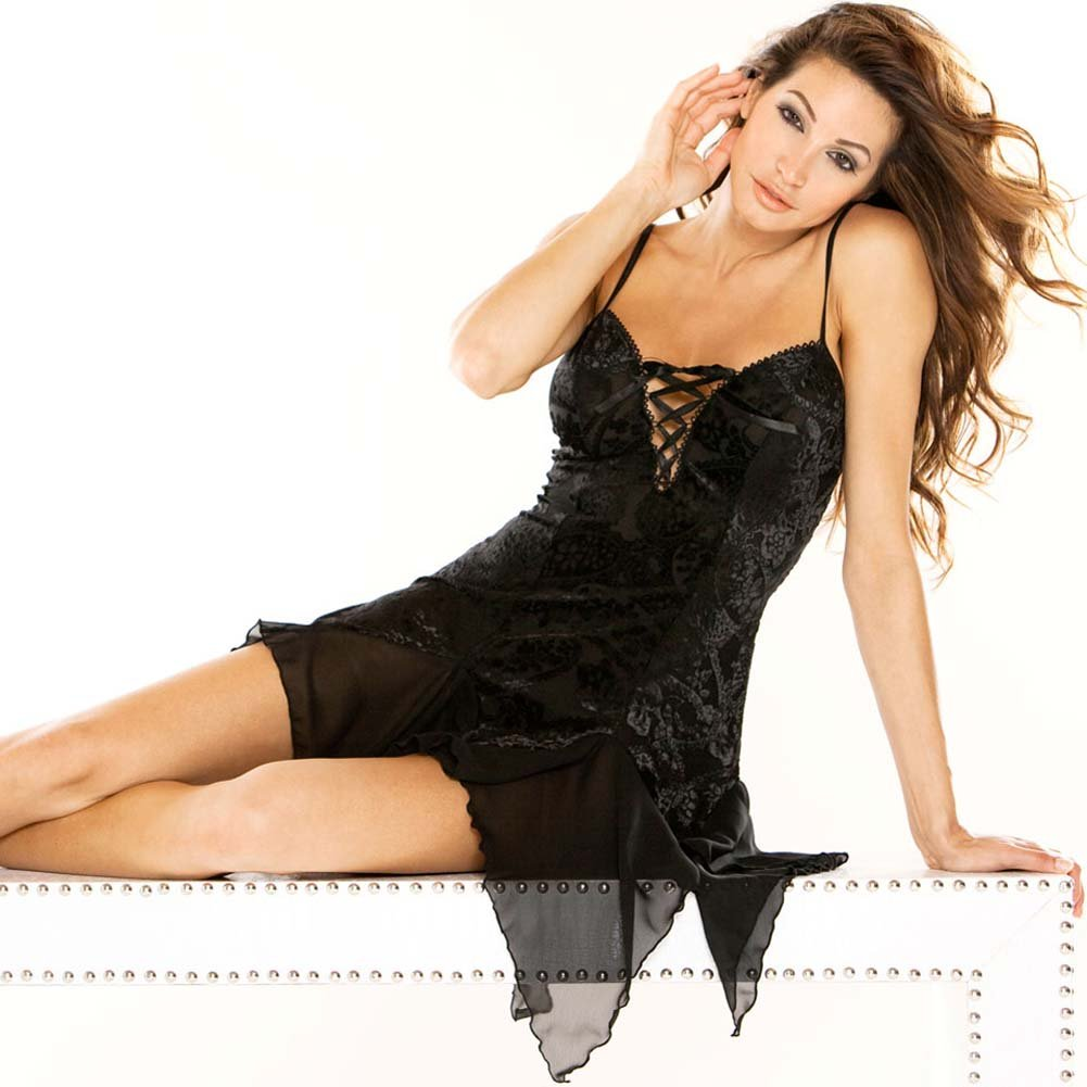 Burnout Velvet Chemise with G-String Plus Size 1X Black - View #3