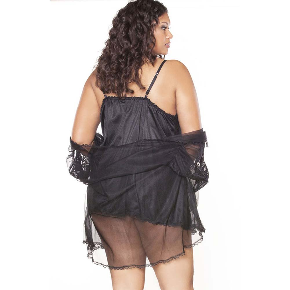 Fantasy Classics Short Peignoir Set Plus Size 2X Black - View #2