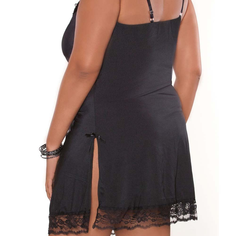 Barely There Sexy Slip with Side Slit Plus Size 1X Black - View #4