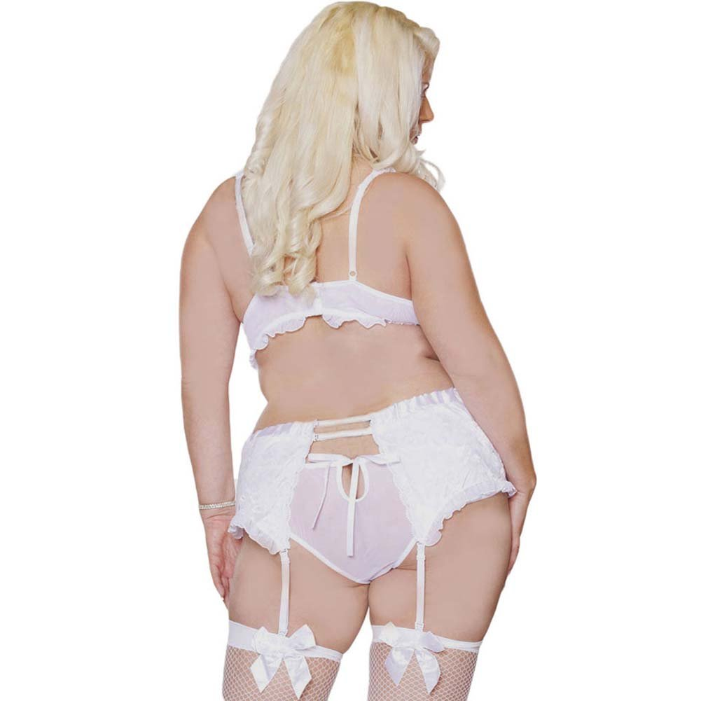 Something Blue Demi Bra and Garter Belt Set Plus Size 2X White - View #2