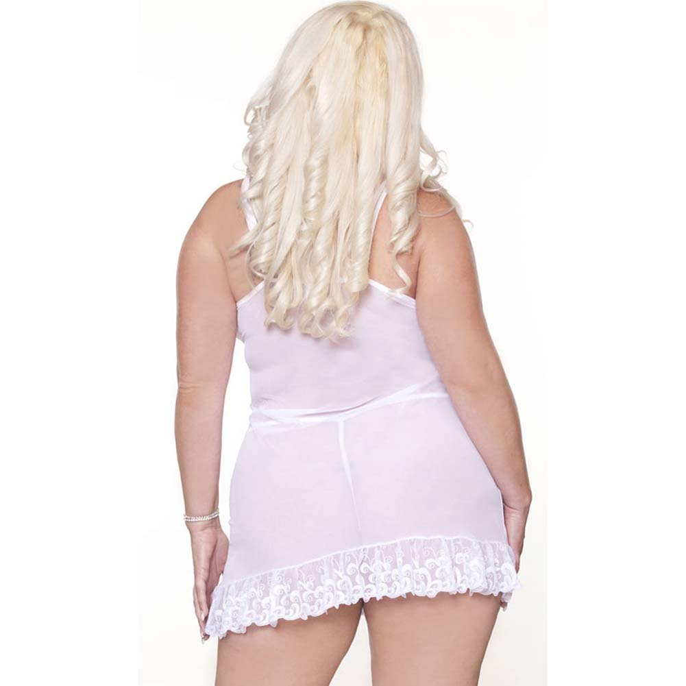 Honeymoon Sweet Embroidered Front Babydoll and Thong 3X - View #2