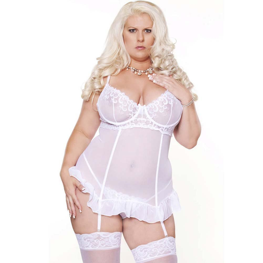 Honeymoon Sweet Gartered Babydoll and G-String Plus Size 2X White - View #1