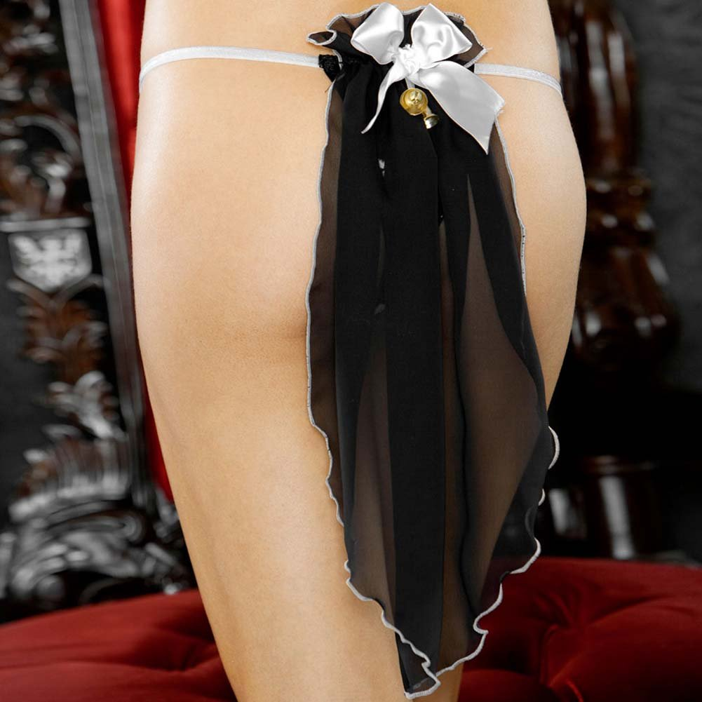 I Do Secretly Slit Thong with Veil Medium Black - View #3
