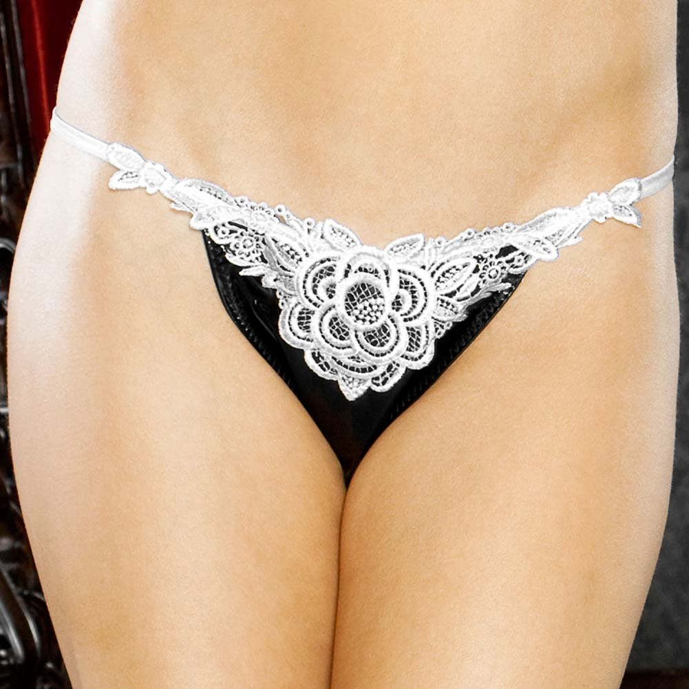 I Do Secretly Slit Thong with Veil Large Black - View #4