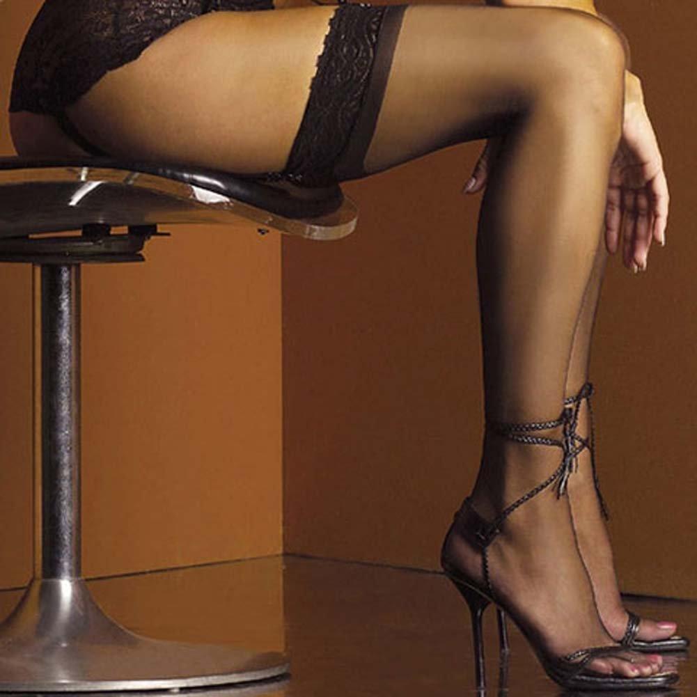 Bridal Lace Top Stockings Black Plus Size 2X - View #2