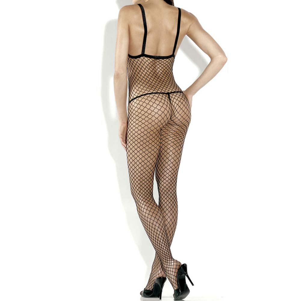 Extreme Open Cup Bodystocking with Cameo Accents Plus Size Black - View #2