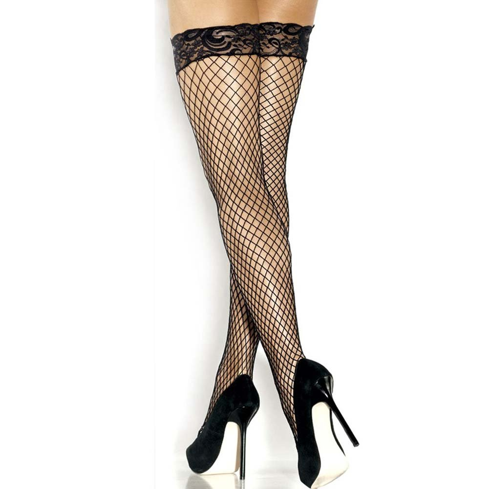 Extreme Stay Up Fishnet Thigh Highs Black - View #3