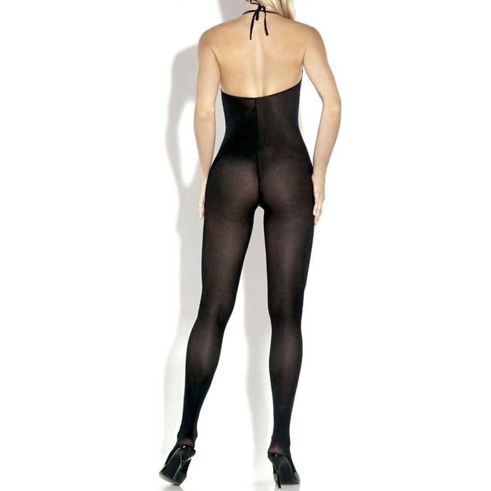 Extreme Opaque Split Front Bow Bodystocking Plus Size Black - View #2