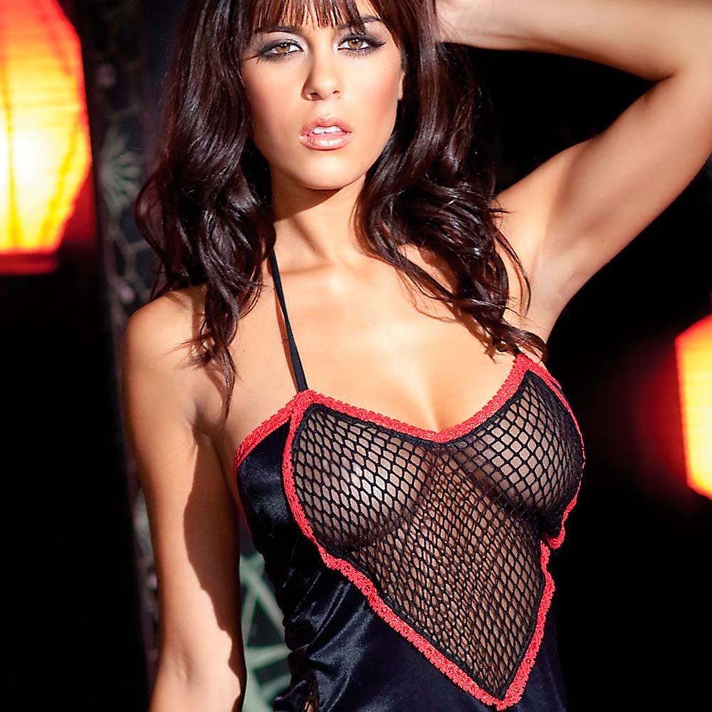 Heart Cut Out Gown and G-String Plus Size Black - View #3